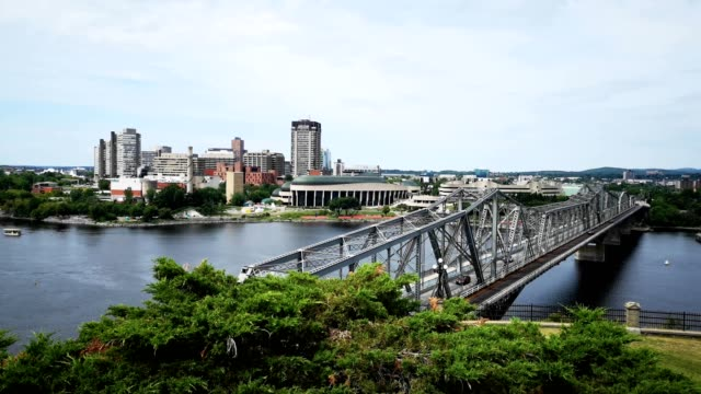 4k video aerial view of hull gatineau and alexandra bridge on a late summer afternoon - ottawa stock videos & royalty-free footage