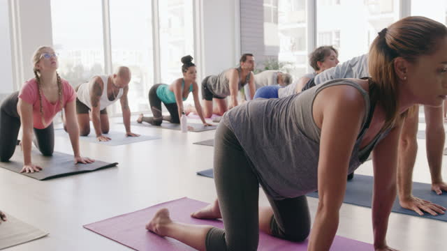 4k video footage of a group of people practising yoga in a fitness class - spine stock videos & royalty-free footage