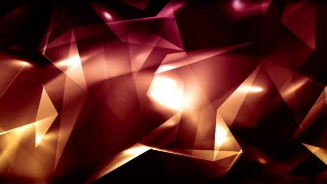 vidéos et rushes de 4 k vidéo rouge abstrait géométrique verre clair - triangles diamant boucle en arrière-plan - diamand