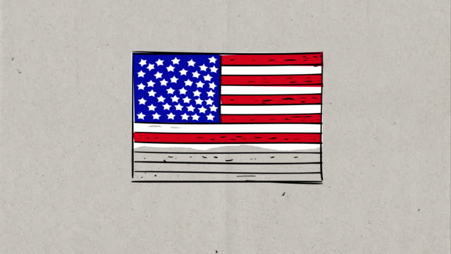 4k video of hand drawing process of usa cartoon flag, sketch on 3 different backgrounds, paper background, chalkboard background and green screen background - drawing activity stock videos & royalty-free footage
