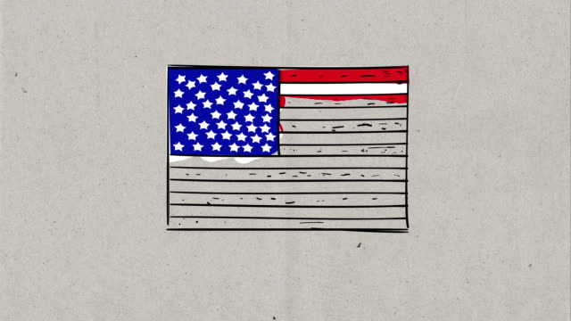 4k video of hand drawing process of usa cartoon flag, sketch on paper background - line art video stock e b–roll