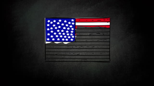 4k video of hand drawing process of usa cartoon flag, sketch on chalkboard background - line art stock videos & royalty-free footage