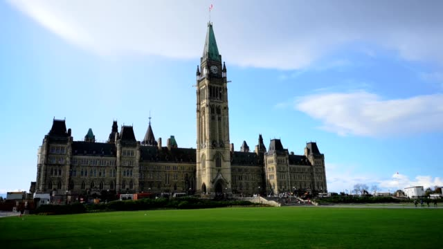 4k video of ottawa parliament building on a rainy summer evening - parliament hill stock videos and b-roll footage