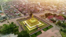 4k Video shot aerial view by drone of Wat Phra That Luang , Vientiane, Laos PDR.