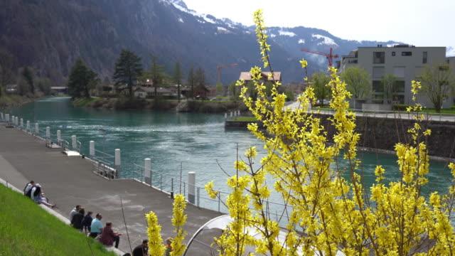4k view of lake thun in switzerland - lake thun stock videos and b-roll footage