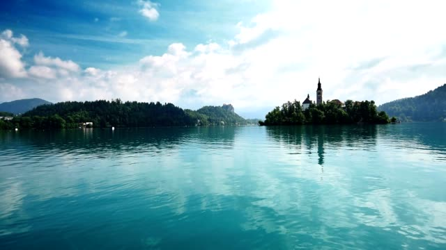 4k view of the bled lake in slovenia - lake bled stock videos & royalty-free footage