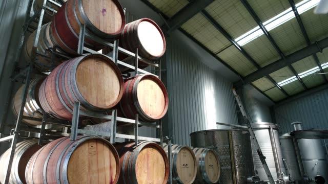 4k vineyard interior oak barrels