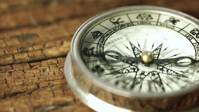 4 k vintage kompass in business-konzept - strategie: dolly erschossen - kompass stock-videos und b-roll-filmmaterial