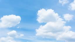 4k T/L white clouds in blue sky