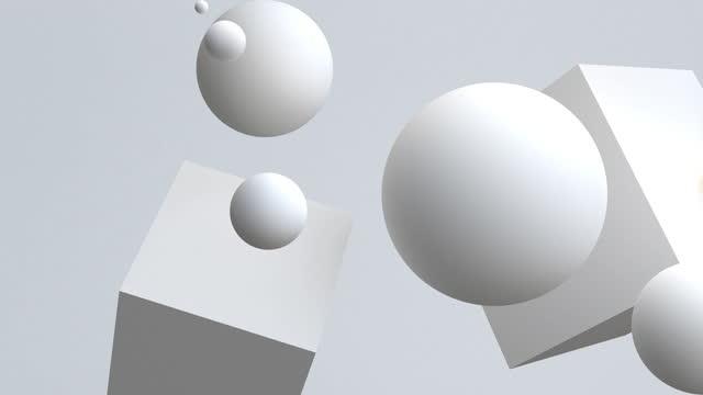 vídeos de stock, filmes e b-roll de 4k esferas brancas flutuando em movimento. - elemento de desenho