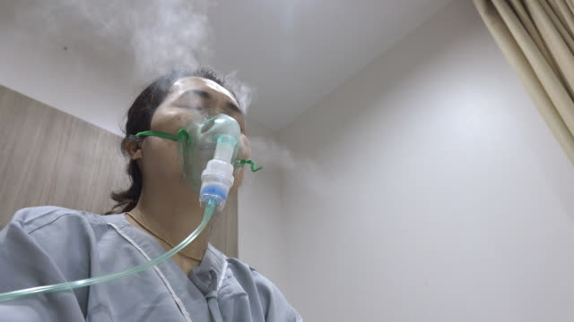 4k: Woman has asthma and need nebulizations