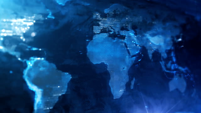 4k world map background (blue) - loop - communication stock videos & royalty-free footage