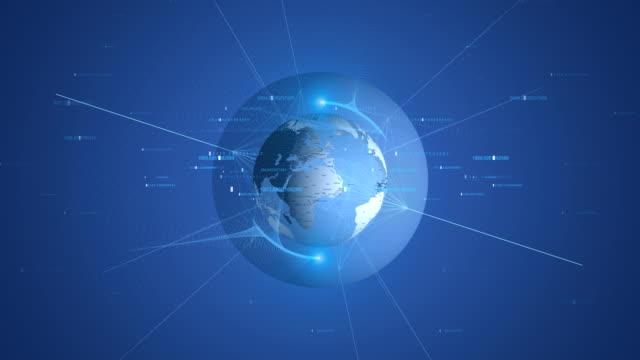 vídeos de stock, filmes e b-roll de mapa de mundo 4k com loop infinito de código binário - ocidentalização
