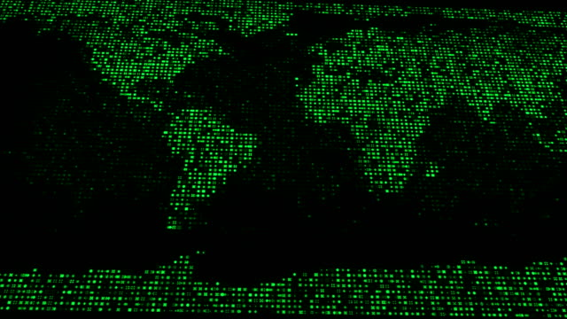 4k world map with binary code (green) - continent geographic area stock videos & royalty-free footage
