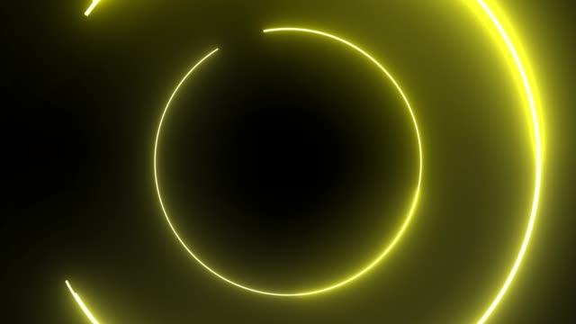 vídeos de stock e filmes b-roll de 4k yellow neon circle lights background - eletrónica