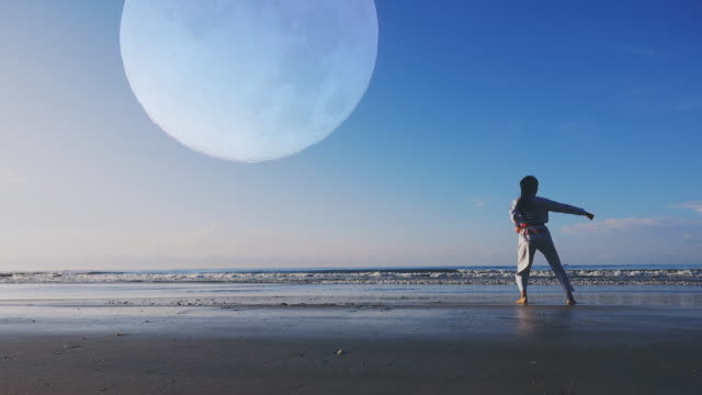 4k: young women practising martial arts outdoors on the beach, full moon background - taekwondo stock videos & royalty-free footage