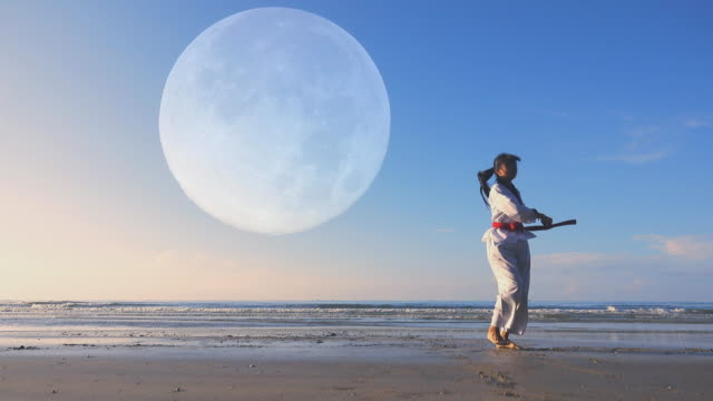 4k: young women practising martial arts outdoors on the beach, full moon background - curiosity stock videos & royalty-free footage