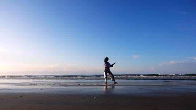 vidéos et rushes de 4k: jeunes femmes pratiquant les arts martiaux à l'extérieur sur la plage - karaté