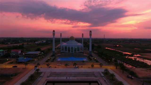 4k.Aerial view of Central Songkhla Mosque, Thailand.