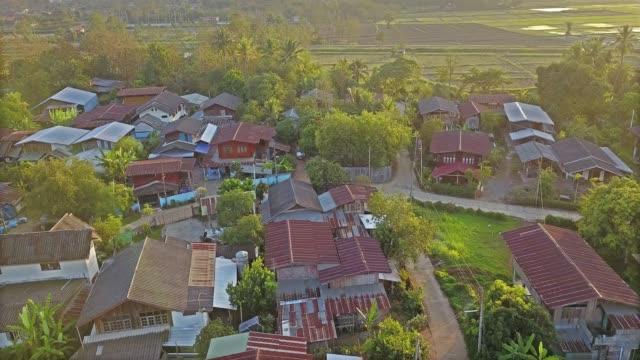 4k:Aerial view of Northern Rural Village in Thailand