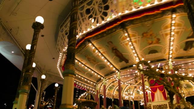 4k,amusement park at night. - lingua giapponese video stock e b–roll