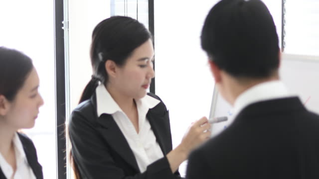 4K:Asian Business People Having A Presentation