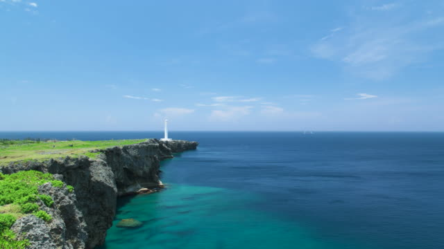 4k,blue sky and green ocean.okinawa,japan - okinawa prefecture stock videos & royalty-free footage