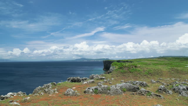 4K,Blue sky and green ocean.Okinawa,Japan