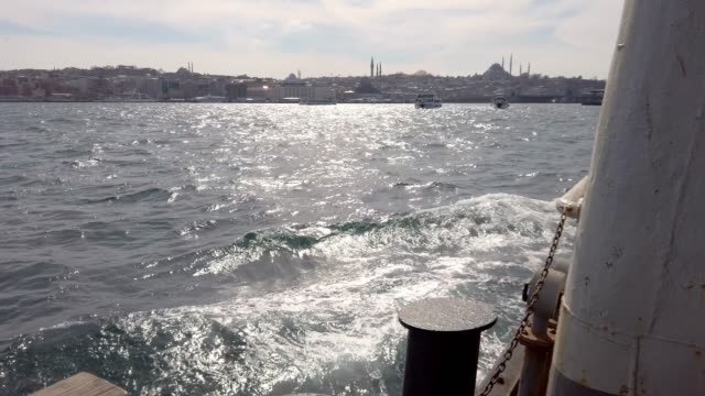 4k:boat trip in bosphorus, istanbul - blue mosque stock videos and b-roll footage