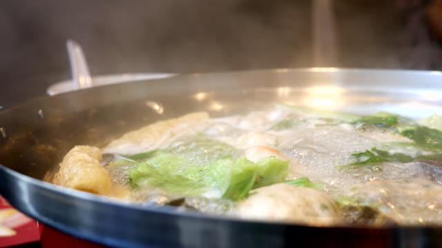 4k:boiling sukiyaki soup - sukiyaki stock videos and b-roll footage