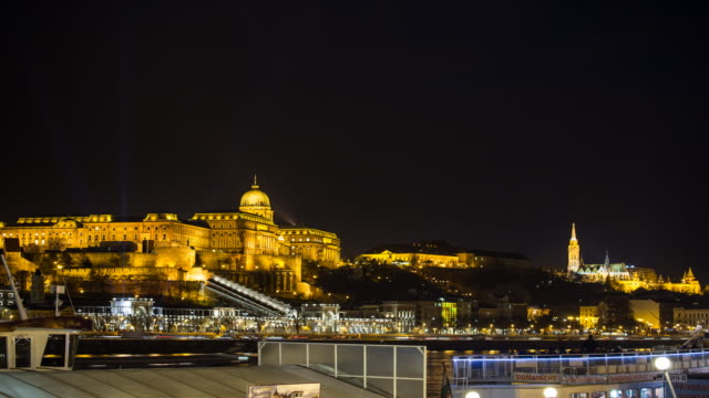 4k:buda castle budapest hungary at night - hungarian culture stock videos & royalty-free footage