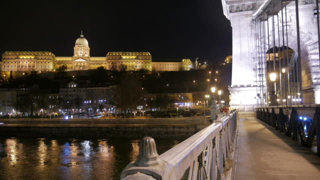 4k:budapest hungary , buda castle from chain bridge - royal palace of buda stock videos & royalty-free footage