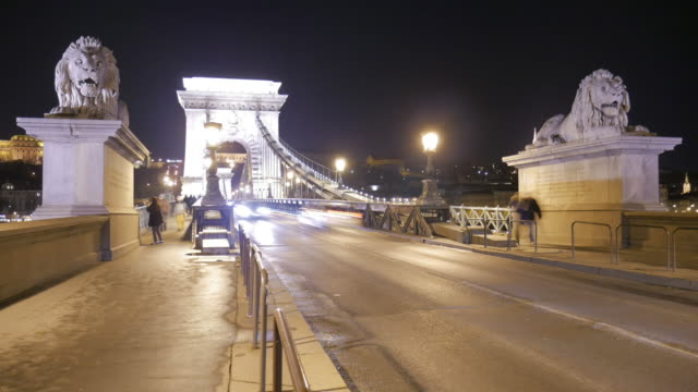 4K:Budapest Hungary Chain bridge at night time-lapse movement