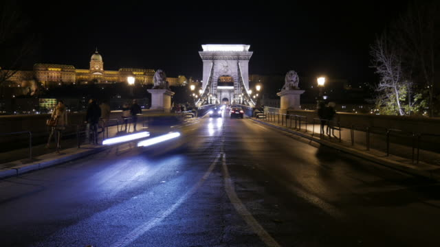 4k:budapest hungary chain bridge at night time-lapse movement - hungarian culture stock videos & royalty-free footage