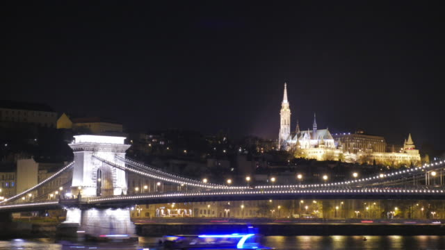 4k:budapest hungary chain bridge with fishermans bastion - eastern european culture stock videos & royalty-free footage