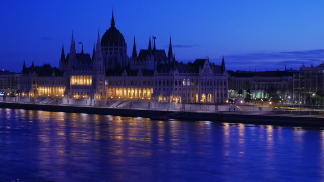 4K:Budapest Hungary parliament and danube river at twilight time