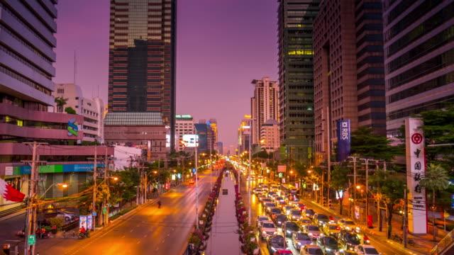 4K:Central city on twilight time after sunset