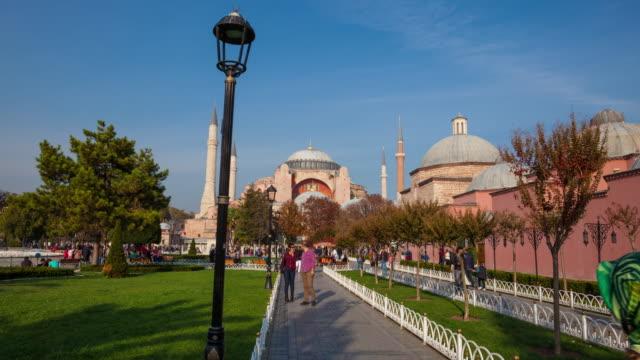 4k:hagia sophia hyperlapse, istanbul - sultanahmet district stock videos and b-roll footage