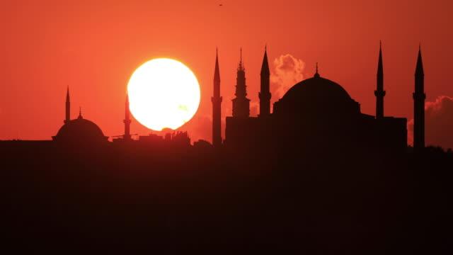 4k:istanbul hagia sophia mosque sunset - hagia sophia istanbul stock videos & royalty-free footage
