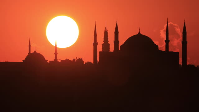 4k:istanbul hagia sophia mosque sunset - turkey middle east stock videos and b-roll footage