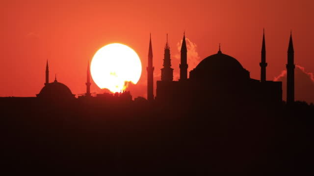 4k:istanbul hagia sophia mosque sunset - istanbul stock videos and b-roll footage