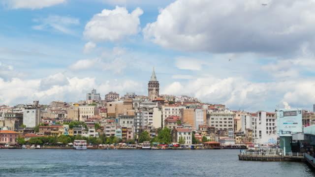 4 k: istanbul, türkei zeitraffer **** - galataturm stock-videos und b-roll-filmmaterial