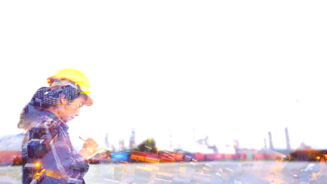 4k:multiple exposure of engineer woman worker at industrial plant working on clipboard - container stock videos & royalty-free footage