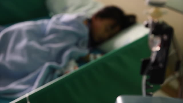 4K.My daughter in Hospital with Saline Solution Volumetric Infusion Pump