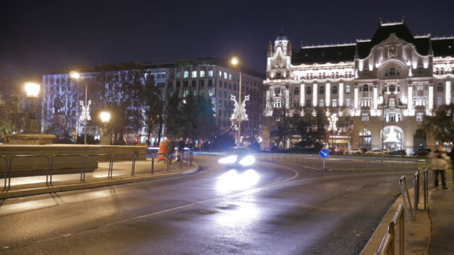 4k:night life in the central city , budapest hungary time-lapse movement - hungarian culture stock videos & royalty-free footage