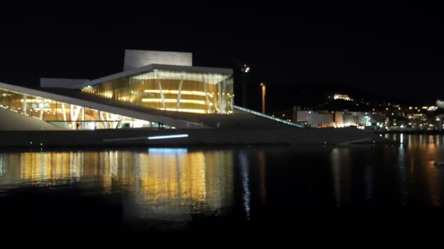 4 k: oslo norwegen opera house mit schwerpunkt technic - opernhaus stock-videos und b-roll-filmmaterial