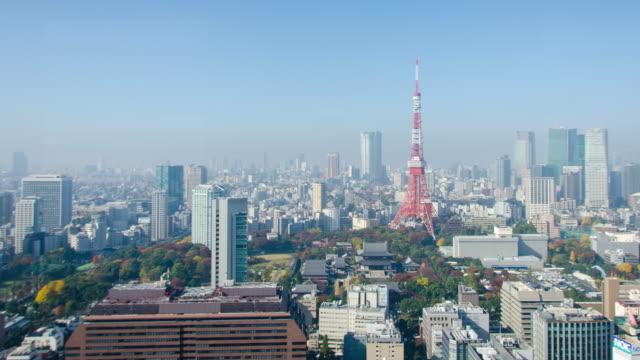 4kpanning 時間の経過: 東京都の東京タワー - パン効果点の映像素材/bロール