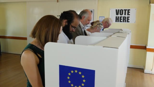4K:People stood at Polling / Voting Booths at E.U. European Elections or Referendum