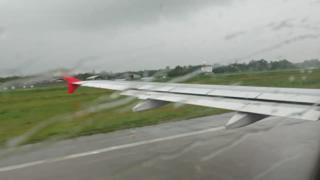 4K:Plane window  and raining