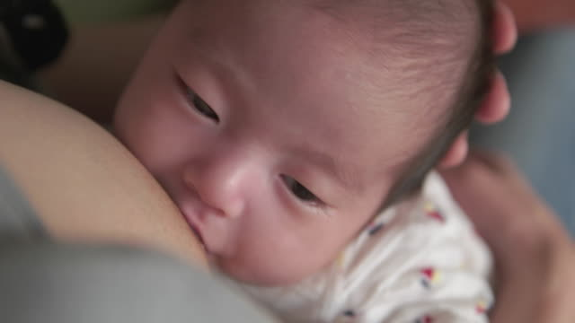 4k,selective focuse, japanese baby girl (2month). - breastfeeding stock videos & royalty-free footage